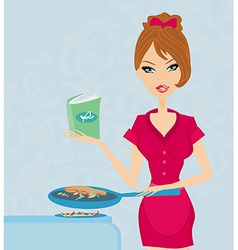 Beautiful woman frying with cooking book in the vector image