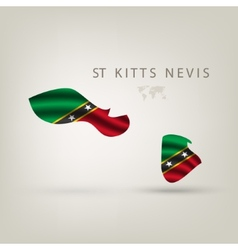 Flag of st kitts nevis as a country with a shadow vector