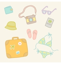 Travel objects set vector