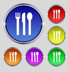 Fork knife spoon icon sign round symbol on bright vector