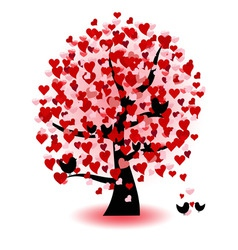 Abstract tree of love hearts and birds vector