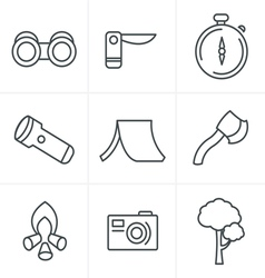 Line icons style black camping theme set on gray vector