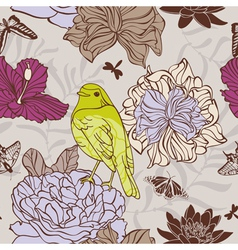 Bird and insect seamless floral pattern vector