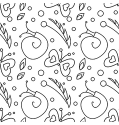 Seamless pattern with snails butterflies and dots vector