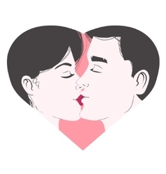 Kissing young couple inside heart symbol of love vector