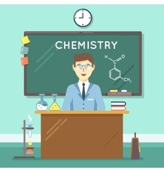 Chemistry teacher in classroom flat vector