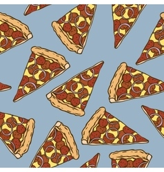 Seamless pattern with pepperoni pizza slices vector
