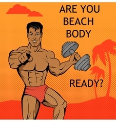 Fitness boy beach body ready design vector