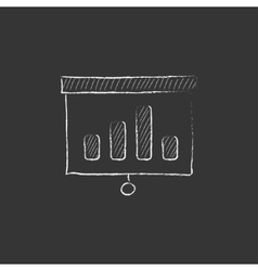 Projector roller screen drawn in chalk icon vector