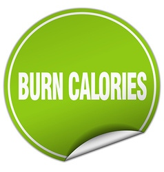 Burn calories round green sticker isolated on vector