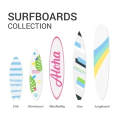 Surfboards types silhouettes modern colorful vector