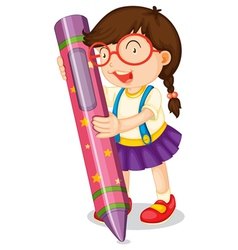 a girl with pencil vector image vector image