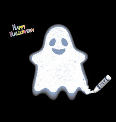 a white ghost drawn with a crayon vector image vector image