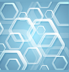 Abstract bright blue hexagons tech background vector