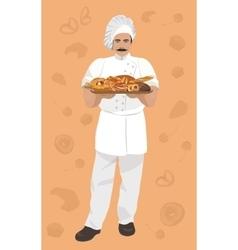 baker holding a basket vector image