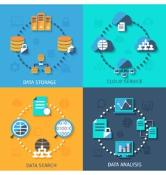 Big data 4 flat icons composition vector image vector image