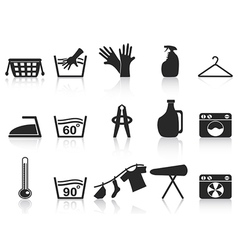 black laundry icons set vector image