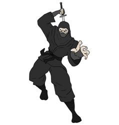 black ninja attack vector image