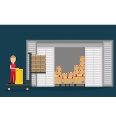 Box package man delivery shipping icon vector