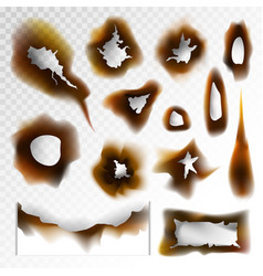 burnt holes scorched paper elements on vector image