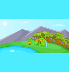 camping horizontal banner cartoon style vector image