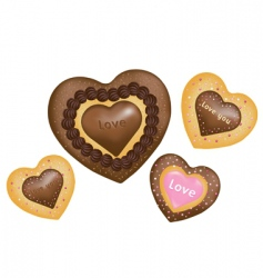chocolate cookies hearts shape vector image