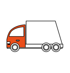 Color silhouette cartoon transport truck with vector