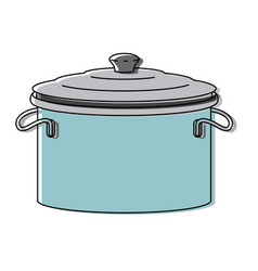 cooking pot with lid colorful watercolor vector image
