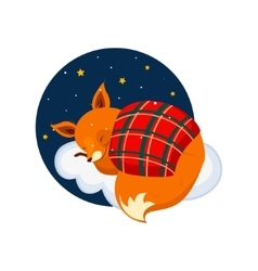 Cute Cartoon Fox Sleeping on a Cloud Covered with vector image vector image