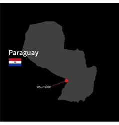 Detailed map of paraguay and capital city asuncion vector