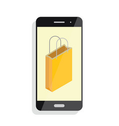e-commerce flat design concept shopping bag cart vector image