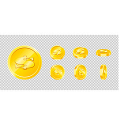 Gold game coin set isolated design vector