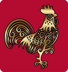 Golden rooster ornament vector