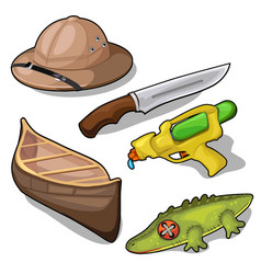 hat boat crocodile gun and knife vector image