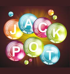 Jackpot signcasino lotto label on bright balls vector