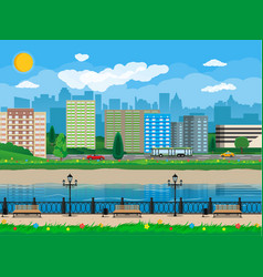 modern city view waterfront river embankment vector image vector image