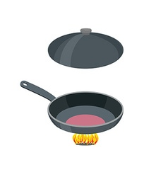 Open pan on a white background Pan stands vector image