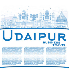 outline udaipur skyline with blue buildings and vector image