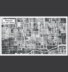 Phoenix usa city map in retro style outline map vector