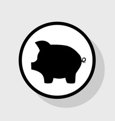 Pig money bank sign flat black icon in vector