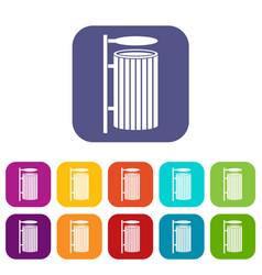 Public trash can icons set flat vector