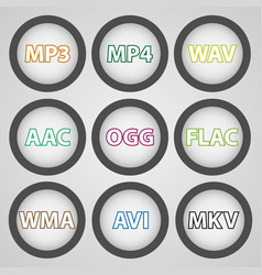 Round color icons for audio and video formats vector