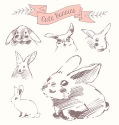 set cute bunnies easter rabbits draw sketch vector image vector image