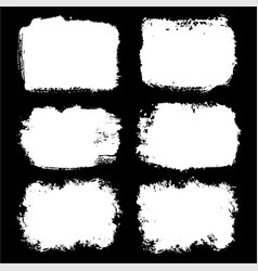 set of black paint ink brush strokes frames vector image