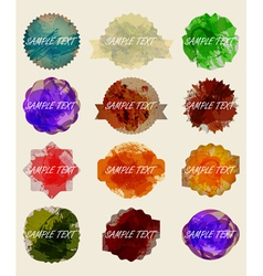 Set of old dark vintage grunge label in watercolor vector image
