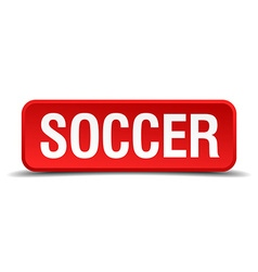 Soccer red 3d square button isolated on white vector image vector image