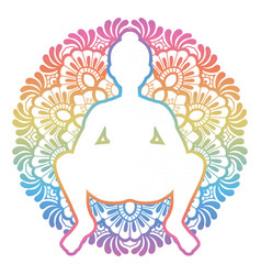Women silhouette squat yoga pose malasana vector