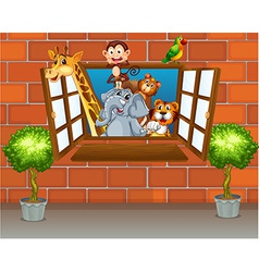 Zoo animals at the window vector