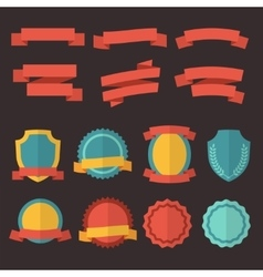 Retro badges labels and ribbons set in vector
