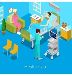 Isometric hospital room with patient and nurse vector